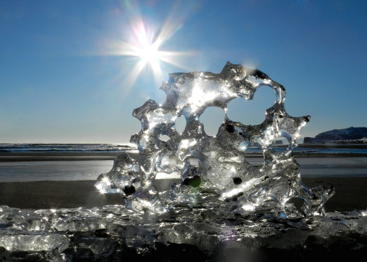 icicle on beach with sun beam